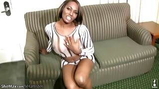 FULL video of Black shedoll stroking breasts and long shaft