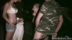 Big tits star Krystal Swift got to public dogging gang band