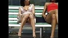 Salopes Teasing on Bus Bench BVR