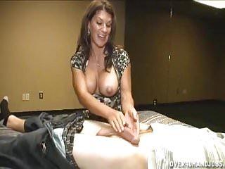 Hot Brunette Milf Jerking A Cock