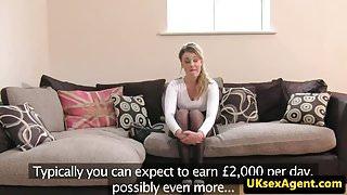 UK cocksucking blonde pussyfucks agents cock