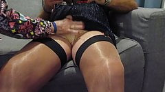 Getting ready for a nylon wank