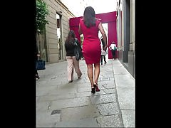 Cougar in Red Dress with a Big Nice Ass