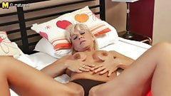 Hot blonde mom playing with herself