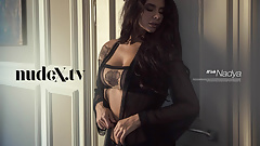 Sexy Russian Babe in sexy black lingerie teasing for Nudex