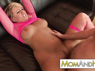 Older MILF mom swallows cum