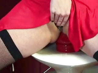 Slut in stockings fists her massive tail end