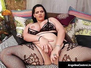 Curvy Cuban BBW Angelina Castro Masturbates In Hot Lingerie!