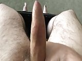 Wanking and Spurting on Glass Table!