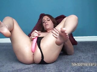 Curvy coed Alisha Adams is playing with her pink dildo