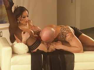 Tattooed stud pumps his tool hard on his girl at the couch