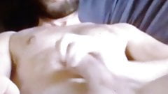 Hot bearded hairy guy with huge cock jerking