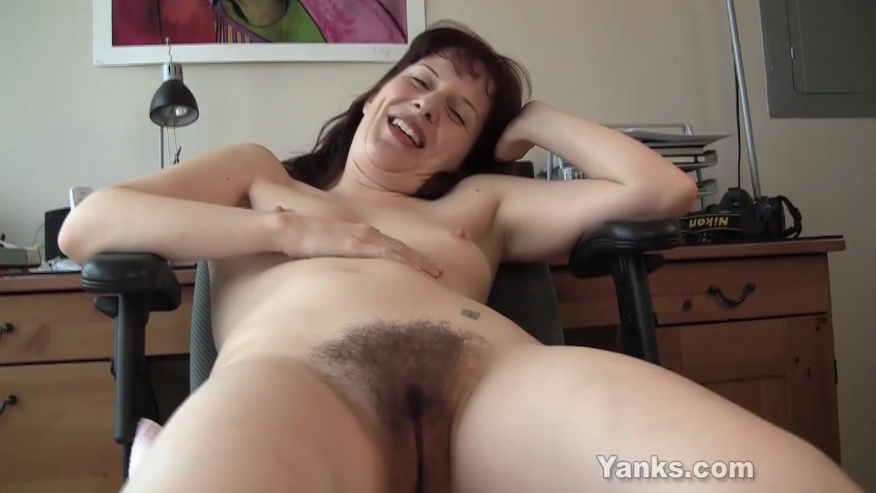 Fucking hairy bush caught masturbating to orgasm