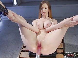 Busty machine loving babe spreading her legs