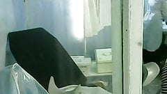 Gyno exam girl in gynocabinet.