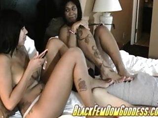 Furniture sex wedge - 2 black babes use white slave as human furniture