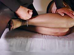 Hard sex BDSM footjob jerking off milf stockings