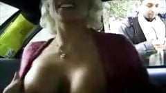 Blonde masturbates in New York cab