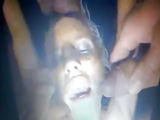 snowballing cumkissing blonde with another man's sperm!