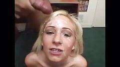 Slut is talking naughty while she get facials