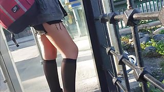 Sexy slut in black opaque knee high stockings