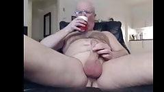 Dad stroking his uncut meat