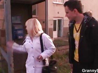 Old blonde granny pleases a stranger