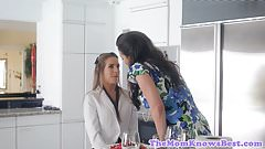 Lesbian MILF tribbing young caterer babe