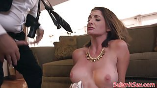 Restrained cocksucking sub anal fucked by dom