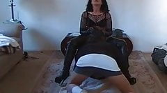 Amateur MILF in bodystockings face sitting
