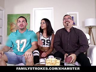 FamilyStrokes- Cute StepsisFlashes Tits And Fucks Stepbro