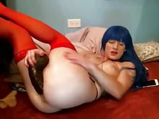 Blue hair kinky slut fucks herself with big black cock