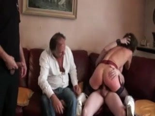 French milf double penetrated in stockings