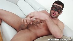 Hunky masked dude sucked by middle aged dude on an interview