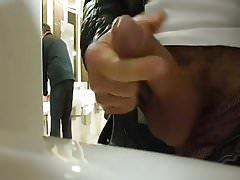Public toilet wank and cum
