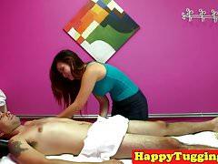 Busty asian masseuse caught cockriding