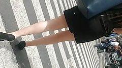 Beautiful blonde black mini dress