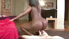 Huge ass ebony sucks and rides white cock