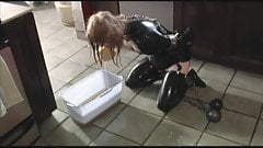 Sisters pt 3 Ball and Chain Latex Floor Mopping