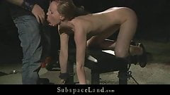 Slave slut whipped and tormented in hard position