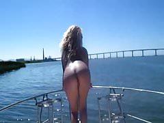Hot Wife On Boat  Flashing In Her Bikini