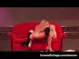 wild lesbian licking on public show stage