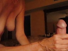 amateur wife plays with my big white cock !