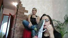 Girl loves to smell her friend's feet