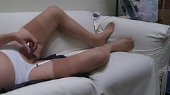 Heels, thong, beige ff stockings and triple cum.