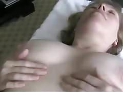wife lubricates her pussy before she fucks her husband