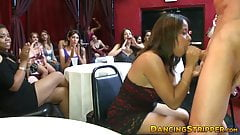 Party babes licking cream off of strippers big cocks