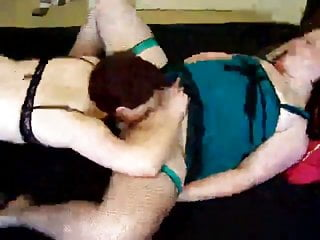 slut getting pussy licked by another slut while sucking cock