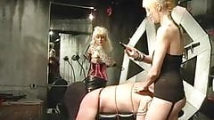Two hot tattooed dominatrixes torture their slave