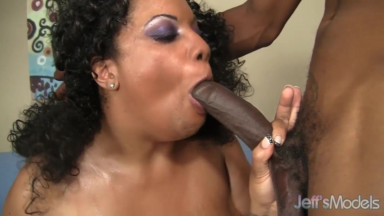 Large titted black girl gets stripped down before swallowing big cock